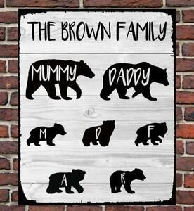 PERSONALISED METAL SIGN GIFT PRESENT DAD MUM FAMILY MAMA PAPA BEAR WATERPROOF