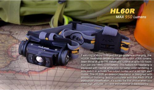 Fenix HL60R rechargeable 950 lumens étanche headtorch 2600 batterie incluse