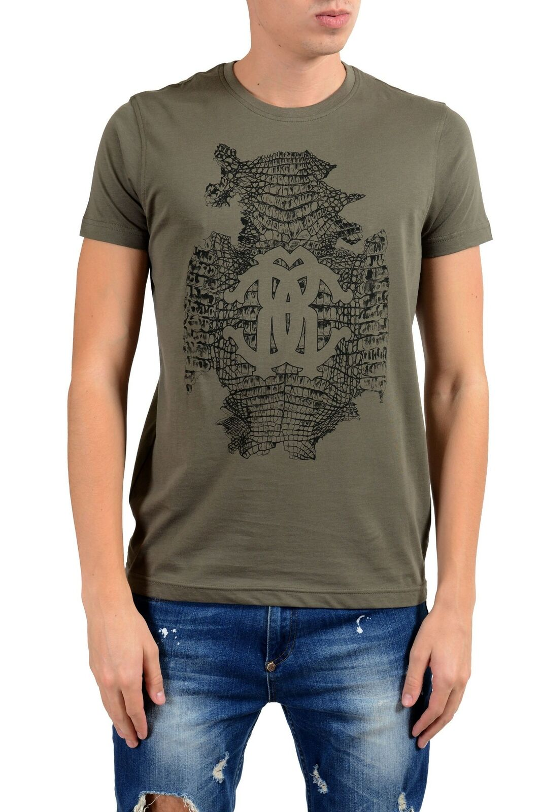 Roberto Cavalli Herren Herren Herren Olivgrün Grafik Rundhalsausschnitt T-Shirt  | Moderne Technologie  9f4b87