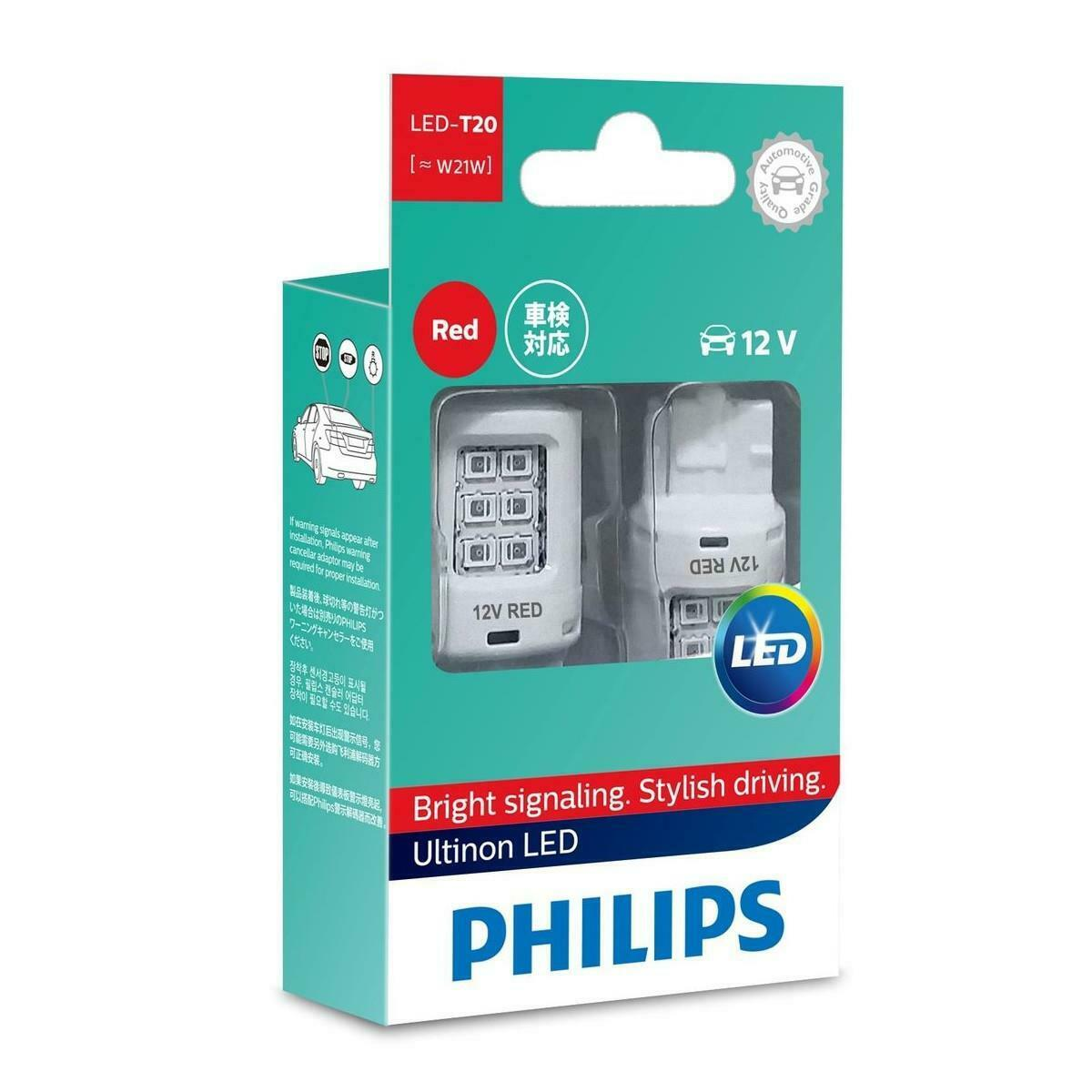 Philips 12838REDX2 Ultinon RED LED W21W …