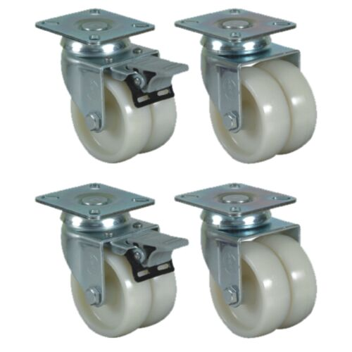 Set of 4-50mm Polyamide Castors Plate Fitting Twin Wheel for higher load