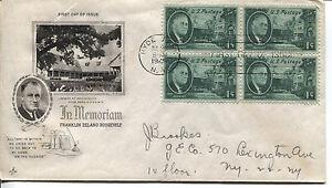 Franklin-D-Roosevelt-1-Centavo-Conmemorativo-Edicion-Bloque-de-4-Arte-Tubo-Addr