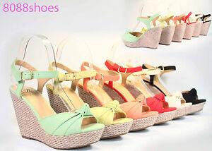 Women-039-s-Summer-Single-Band-Bow-Peep-Toe-Platform-Wedge-Sandal-Shoes-All-Size