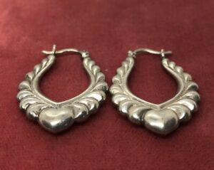 Vintage-Sterling-Silver-Earrings-925-Hoops-Heart