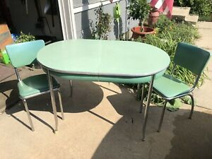 Vintage 1950 S Formica Green Kitchen Table 2 Chairs Ebay