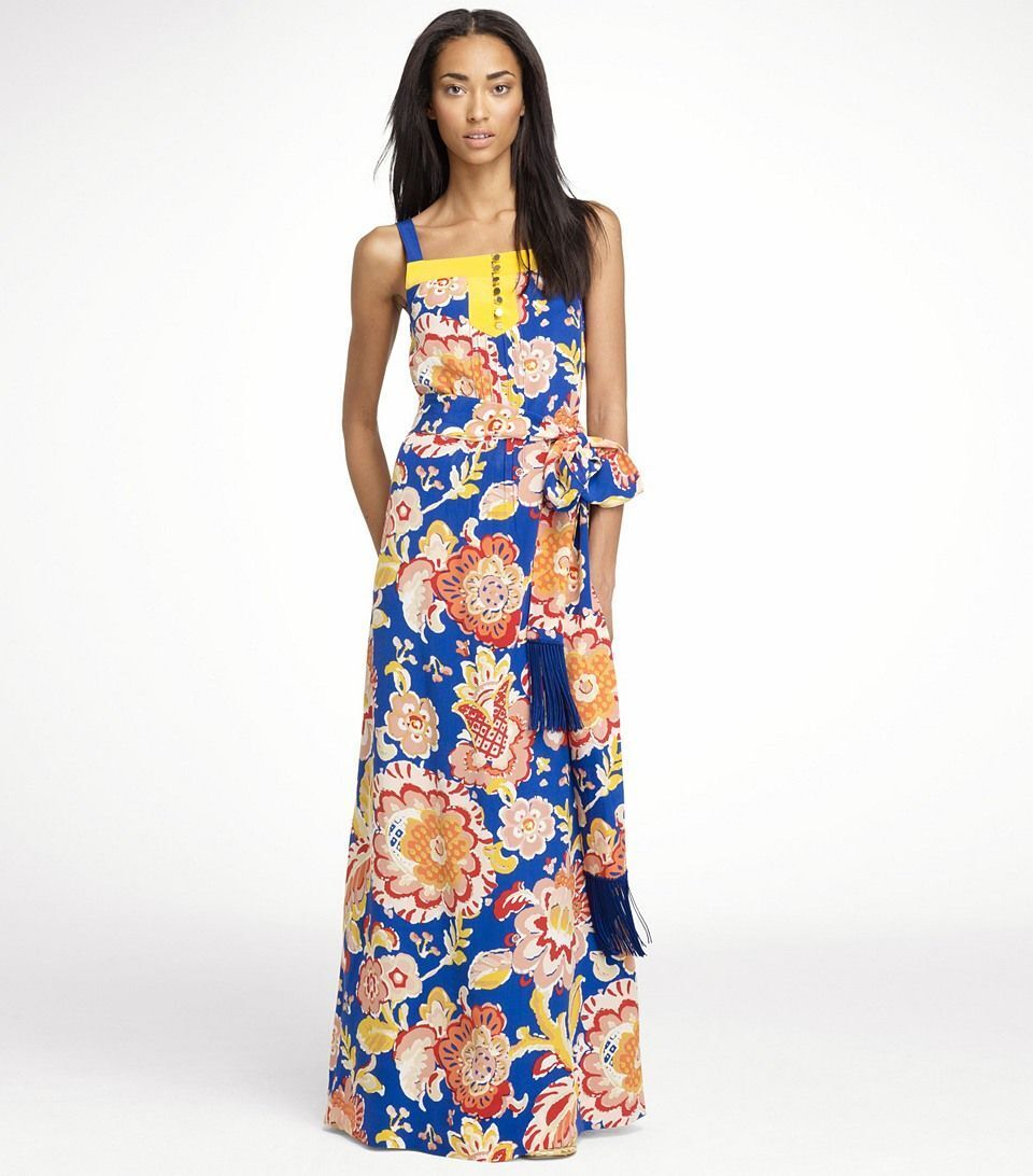 NEW TORY BURCH DESIGNER LONG MAXI FLORAL DRESS 100% SILK