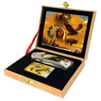 Indian With Animals Boxed Knife With Flip Top Oil Lighter Stainless Steel Pocket