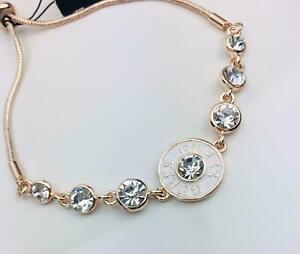 Guess-Damen-Armband-Schmuck-rosegoldfarben-Strass-Steinchen-weiss-Logo-Neu