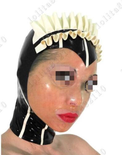 475 Latex Rubber Gummi Maids Servant Masks Hood customized catsuit costume 0.4mm