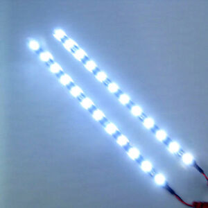 2x-Cool-White-12-LEDs-30cm-11-8-034-5050-SMD-LED-Strip-Light-Waterproof-12V-Car
