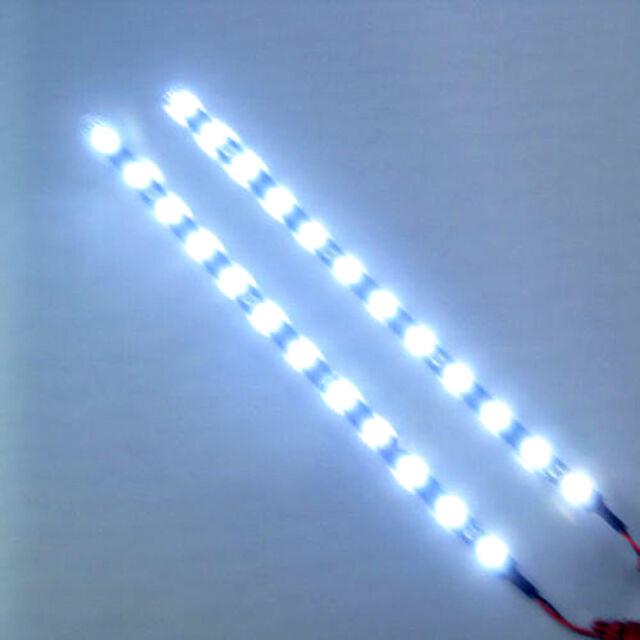 """2x Cool White 12 LEDs 30cm/11.8"""" 5050 SMD LED Strip Light Waterproof 12V Car"""