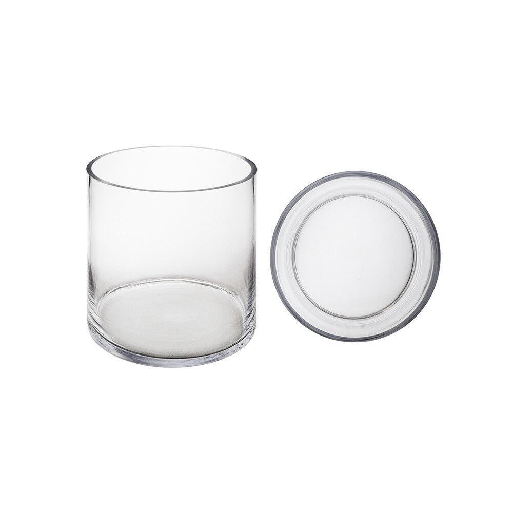 Mega Vases - 8  x 6  Cylinder Glass Vase - Set of 6, Clear