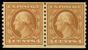 457-4-Coil-Pair-Mint-VF-OG-NH-Washington-Rich-Color-Stuart-Katz
