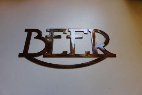 Beer Metal Art Sign  with Beer Mugs Copper//Bronze Metal Wall Art