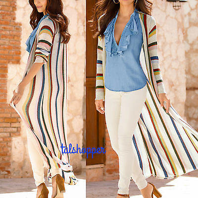 NWT L $149 Boston Proper Sexy Long Striped Duster Cardigan Sweater Coat Gorgeous