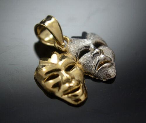 Small Tragedy /& Comedy Mask Pendant Real 14k Gold Happy Sad Face Charm Drama