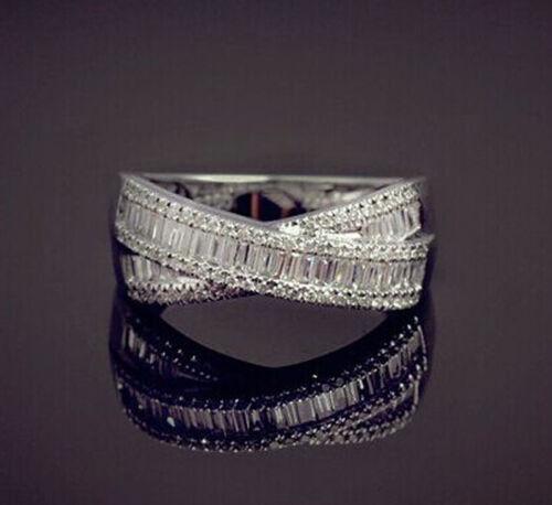 925 silver filled blanc Saphir Pierre de Naissance Fiançailles Anneau Mariage Taille 6-10