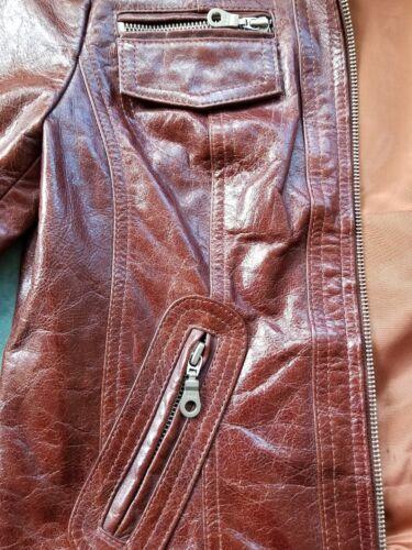 Kenna taille en petit marron souple Veste cuir t qYvIIPw