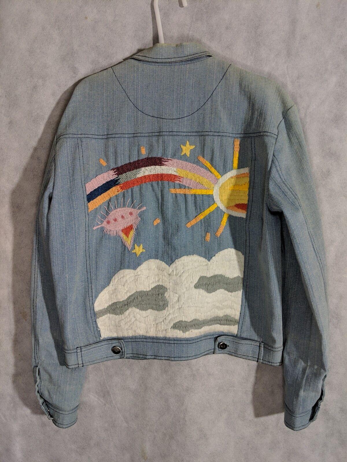 Romance Was Born Rainbow Denim Embroidered Jacket… - image 2