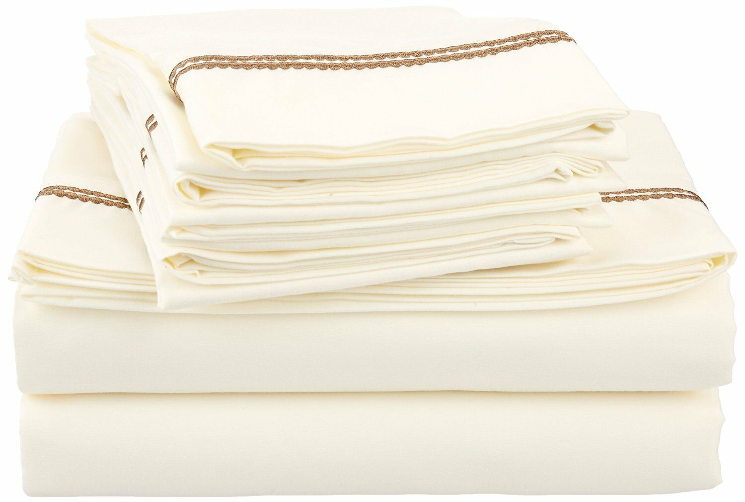 WRINKLE FREE 6PC SHEET SET SOLID-2 LINE EMBROIDERY-IVORY TAUPE