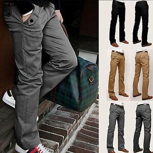 Mens-Casual-Pencil-Dress-Pants-Slim-Fit-Straight-Leg-Jeans-Leisure-Trousers-New