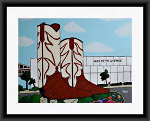 Texas Cowboy Boots San Antonio Folk Art Print of Original VRM Studios Art Matted