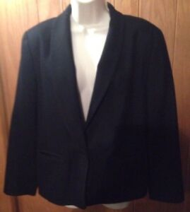 PENDLETON Womans Blazer Jacket Size 14 100% Wool Solid Black Vintage Made in USA