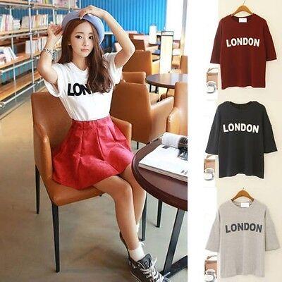 Korean Fashion Women Girls Loose Top Blouse Short Sleeve Print Casual T-shirt
