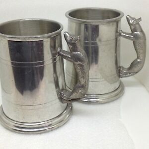 Pair-of-2-Vintage-Wolf-Handle-Tankard-Mug-Fine-English-Pewter-Sheffield-England