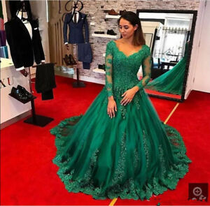 Womens Emerald Green Long Sleeve Prom Dresses Formal Evening Gown