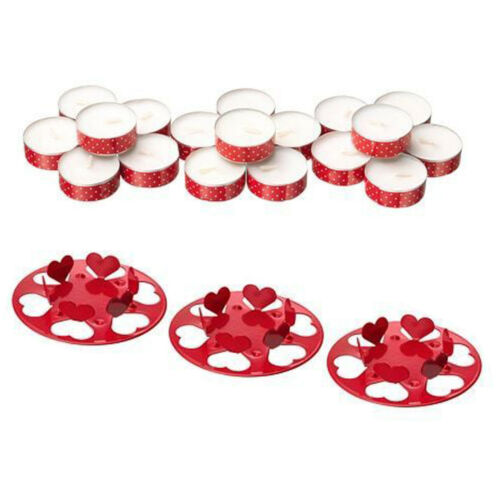 IKEA non parfumée Tea Light Bougies Noël Support or rouge Temps De Combustion 4 Heures