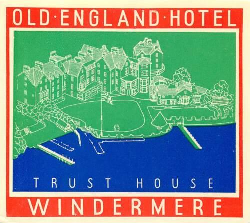 WINDERMERE ENGLAND UK TRUST HOUSE OLD ENGLAND HOTEL ART DECO LUGGAGE LABEL