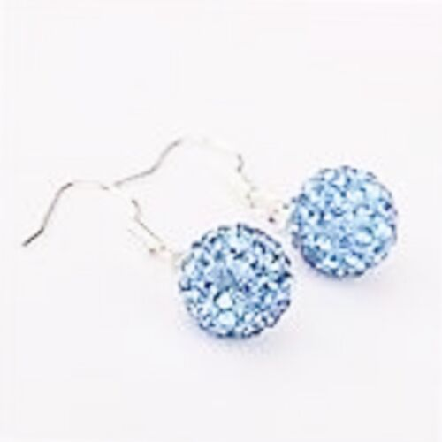 1x10mm BALL  PAVE CZECH CRYSTALS LOVELY  SPARKLY CRYSTAL DROP EARRINGS NEW