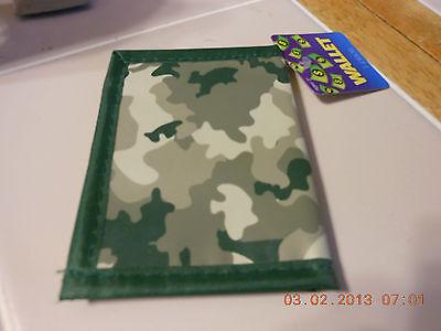 Green CAMO Boys Kids Child camouflage BIFOLD WALLET new
