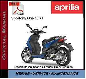 aprilia sportcity one 50 2t workshop service repair manual ebay rh ebay co uk aprilia rsv4 service manual aprilia shiver service manual pdf