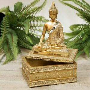 Hand Carved Jewelry Holder Buddha Decorative Box Gold Color Details