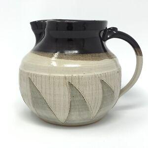 """Studio Art Pottery Pitcher Jug Glazed Incised Detail Artist Signed Vintage 7"""""""