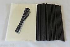 "50 X Negro Cake Pop Kit 6"" lolly palos 4""x 6"" (100x150mm) Violonchelo Bolsas Y Polka lazos"