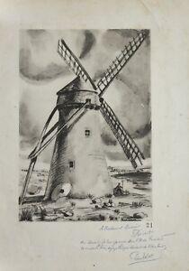 Pierre VALADE(1909-1971)Moulin Gourdin Pas de Calais île renard