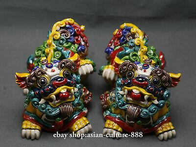 """5.6/"""" Rare Chinese wucai Porcelain Fengshui Foo Fu Dog Guardion Door Lion Pair"""