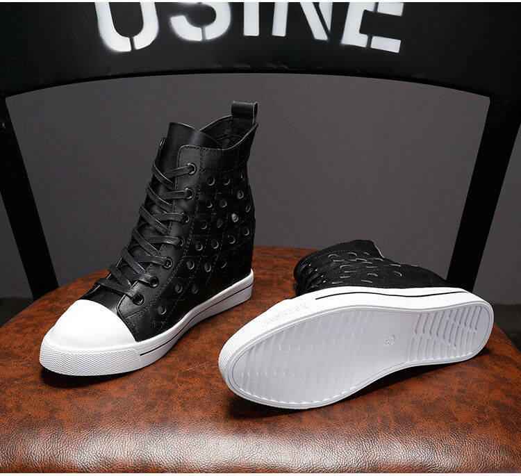 Women Lace Up Round Toe Hollow Out Ankle Ankle Ankle Boots Hidden Heels High Top Sneakers dc3d39