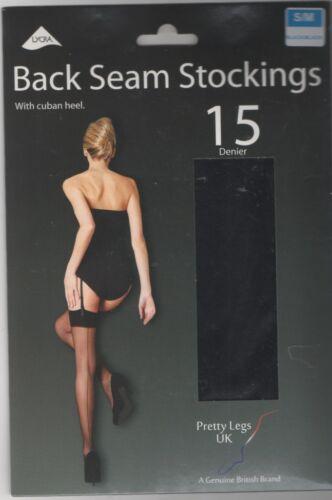 Ladies Cuban Heel /& Seam Stockings Nude//Black /& Black//Black S//M /& M//L Sizes 8-22