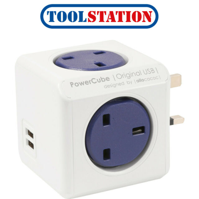 Allocacoc PowerCube Original Power Socket UK Plug 4 Outlets 2 USB Ports