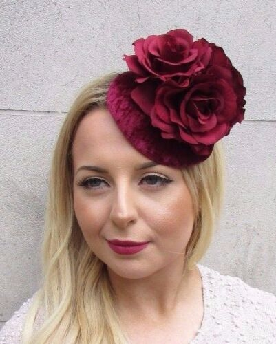 Weinrot Roter Samt Fascinator Hut Haarspange Vtg Rennen Rockabilly 50er Jahre