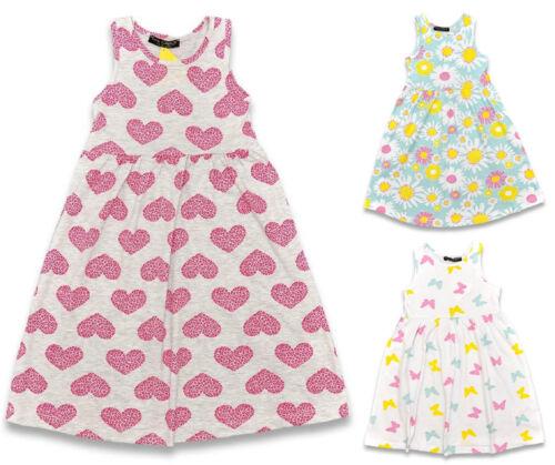GIRLS DRESS SLEEVELESS COTTON EX STORE PRINTED DRESS 1-8 YEARS BNWT