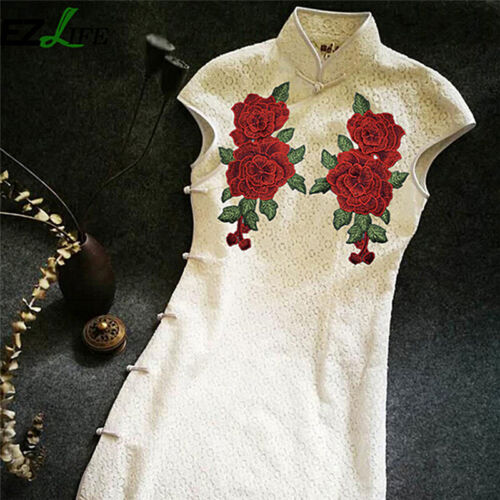 1Pair Embroidery Rose Flower Sew On Patch Badge Bag Jeans Dress Applique Craf Jd