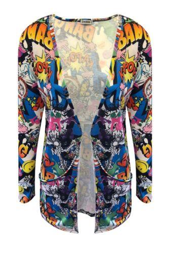 Womens Printed cardigan Open Front Pocket Boyfriend Cardigan Long Sleeve Tops