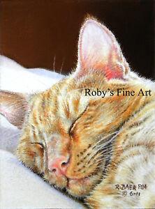 Cat-Art-Print-Orange-Tabby-Cat-034-Ginger-Nap-034-5-034-x7-034-Giclee-by-Artist-Roby-Baer-PSA