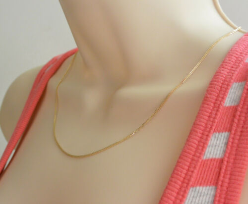 "14K Real Yellow Gold 1mm Braid Square Wheat Chain Necklace 22/"" Inches Women"