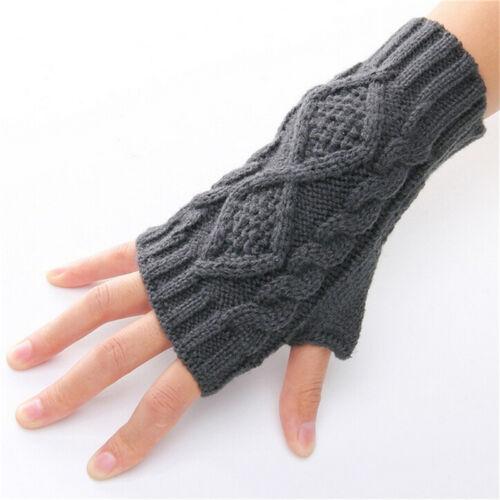 Unisex Men Women Arm Warmer Fingerless Knitted Long Gloves Cute Mittens FashionF